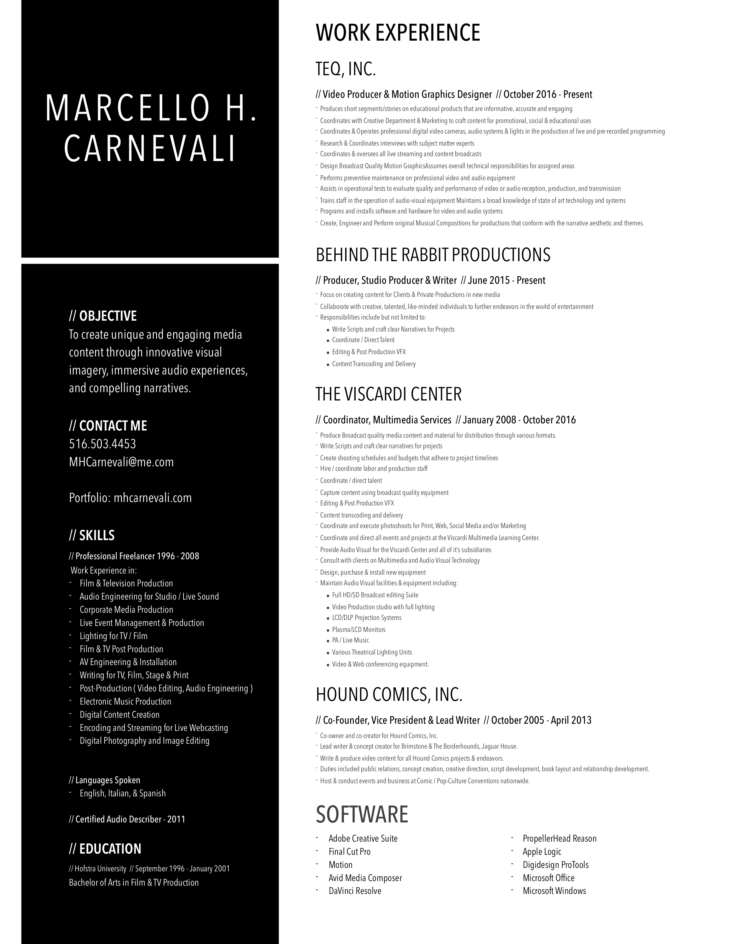 Marcello H. Carnevali Resume